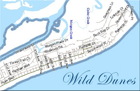 Map of Wild Dunes Resort on Isle of Palms SC