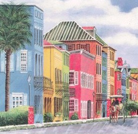 Charleston SC rainbow row homes on East Bay