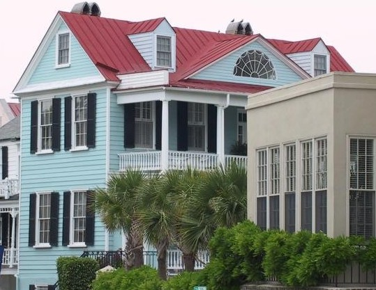this Charleston Single with a standing seam metal roof is the prevalent architectural style