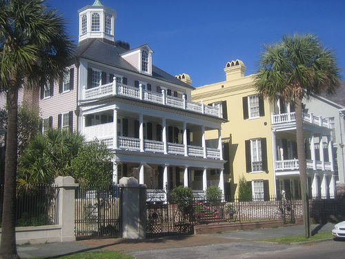 Typical Charleston historic home exudes the Charleston lifestyle with its piazzas to catch the ocean breezes off of the Charleston Battery