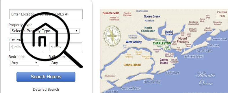 Search Map of Charleston MLS neighborhoods