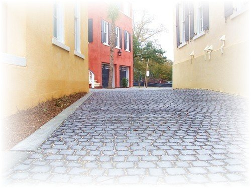 cobblestone street in historic downtown Charleston