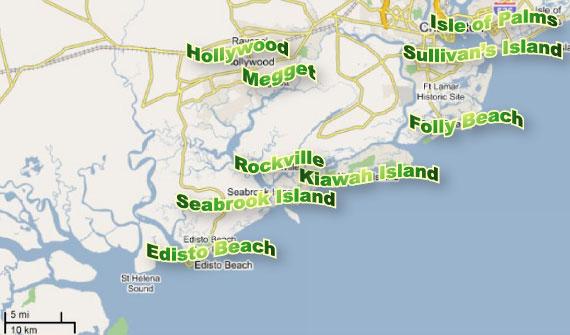 Charleston sc Beaches Map Charleston Area Beach Map